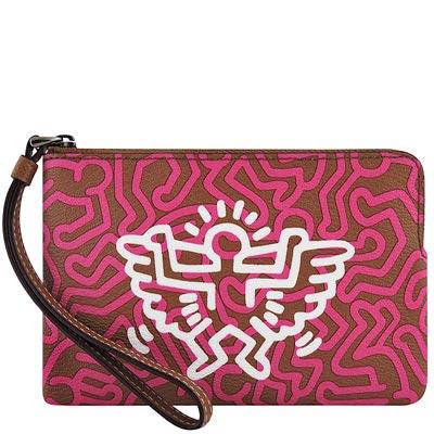 COACH Keith Haring桃紅色展翅鳥人圖樣PVC手拿包