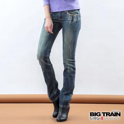 BIG TRAIN-女款 低腰伸縮繡袋花窄直筒褲-中藍