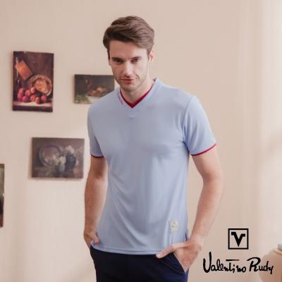 Valentino Rudy 范倫鐵諾.路迪 吸濕排汗超冰涼機能T恤衫-紫藍-雙v領