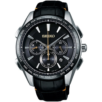 SEIKO精工 Brightz鈦計時太陽能電波腕錶(SAGA221J)-黑/42mm