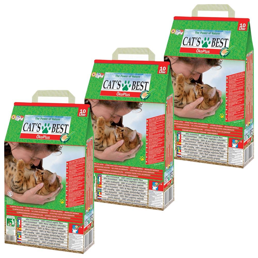 德國凱優CAT'S BEST 低粉塵細顆粒 凝結木屑砂-紅標10L X 3入