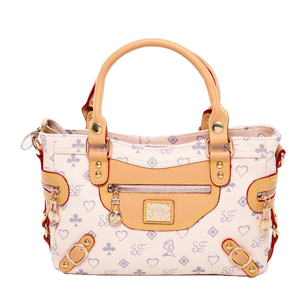 DF Queenin流行 - 法式浪漫時尚製作人多用手提機車包-氣質米