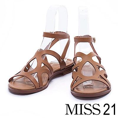 涼鞋 MISS 21 羅馬式交織牛皮繫帶低跟涼鞋-咖