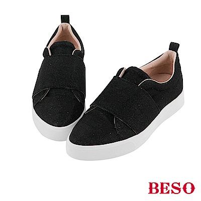 BESO 隨興街頭 金蔥亮澤時尚休閒鞋~黑