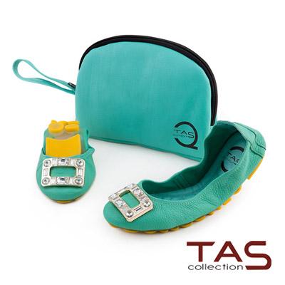TAS-太妃Q系列-方釦水鑽超軟芭蕾口袋鞋-馬卡龍