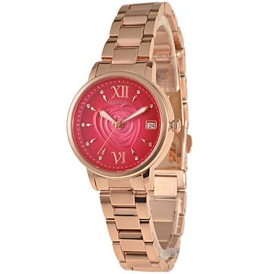 MANGO  花漾玫瑰心晶鑽不鏽鋼時尚腕錶-桃紅/30mm