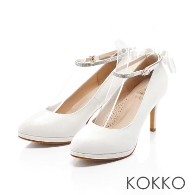 KOKKO-高級訂製優雅蝴蝶結踝帶高跟鞋-氣質白