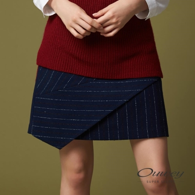 OUWEY歐薇 都會簡約橫直條剪接褲裙(藍)-動態show