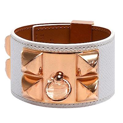 HERMES collier de chien金屬鉚釘小牛皮寬版手環(S-白X玫瑰金)