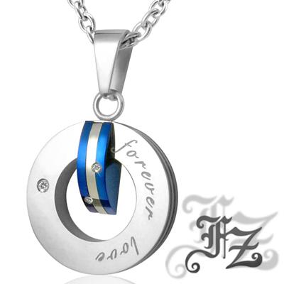 FZ 藍色約定白鋼項鍊(小款)