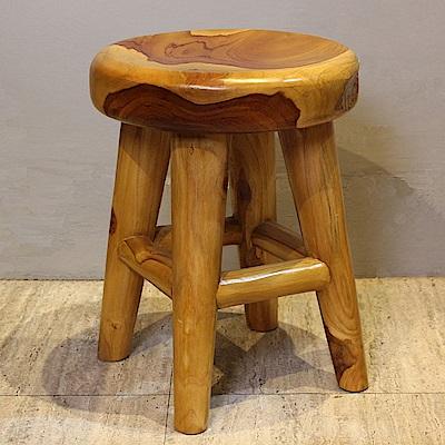 Asllie馬蘭柚木造型圓板凳-34.5x34.5x45cm