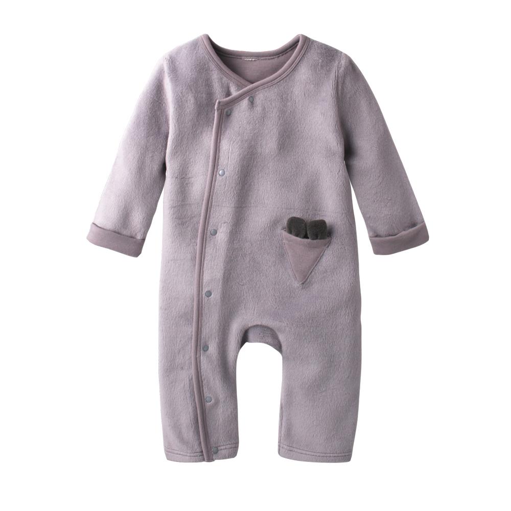 baby童衣 造型側開釦長袖爬服加圍兜 60270