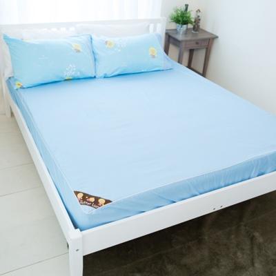 奶油獅-素雅葉語系列-台灣製造-100%精梳純棉床包三件組(水藍)-雙人加大6尺