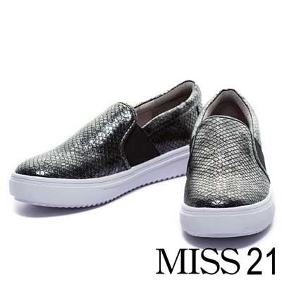 休閒鞋MISS 21搖滾個性金屬蛇皮壓紋厚底平底休閒鞋-灰銀