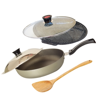 Top Chef 頂尖廚師 鈦合金頂級中華33公分不沾平底鍋+花崗岩不沾煎烤盤