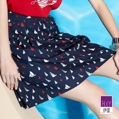 ILEY伊蕾-棉質海洋風摺裙