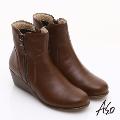 ASO 保暖靴 柔軟真皮雙拉鍊素面楔型短靴  咖啡