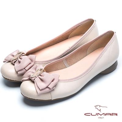 CUMAR舒適通勤 緞帶水鑽娃娃鞋-淺粉紅