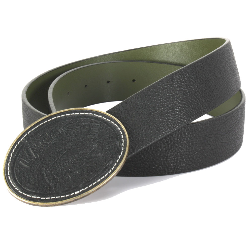 LACOSTE 經典鱷魚皮格壓紋LOGO皮帶-黑色