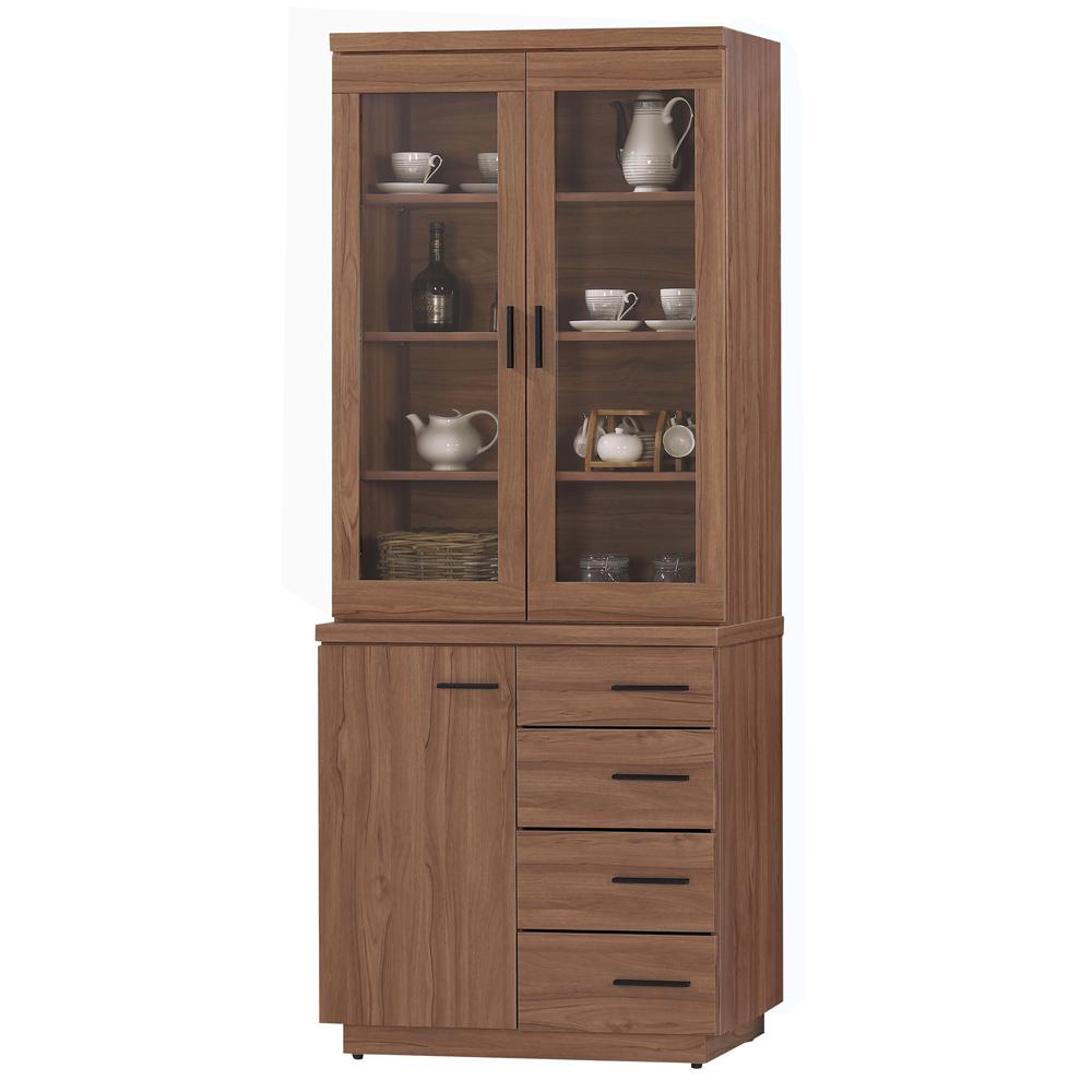 愛比家具 堤比2.7尺柚木色餐櫃全組