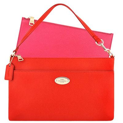 COACH 橘紅色防刮皮革手提包-附可拆拉鍊長夾