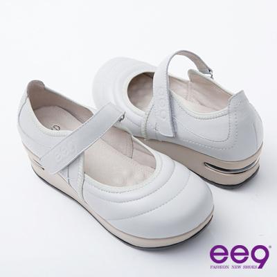 ee9-小牛皮減壓極簡品味魔術貼娃娃淑女鞋-甜美米