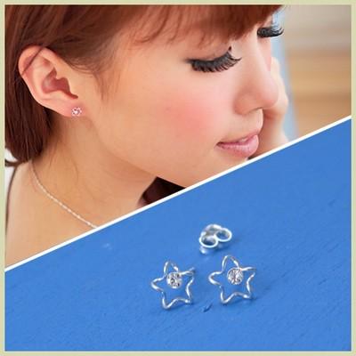 【維克維娜】自由新尚。曲線星星水鑽 925純銀耳環