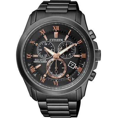CITIZEN 光動能簡約質感三眼計時腕錶(BL5545-50E)-黑/43mm