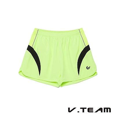VTEAM 慢跑短褲-螢黃