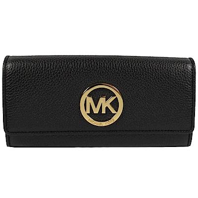 MICHAEL KORS FULTON 金屬MK字樣牛皮扣式長夾(黑)