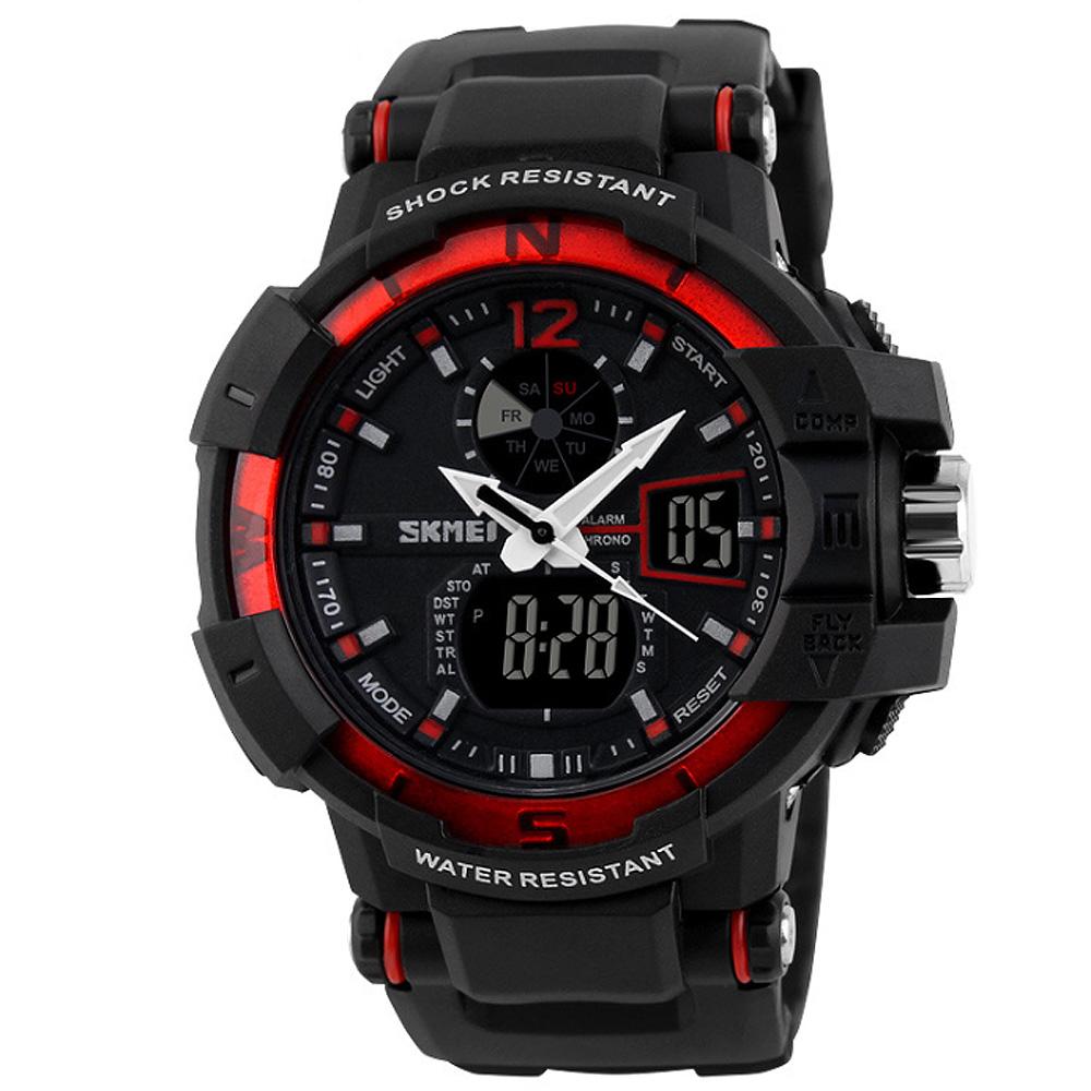 SKMEI 時刻美1040-雙機芯多功能防震防水電子錶 (紅色)