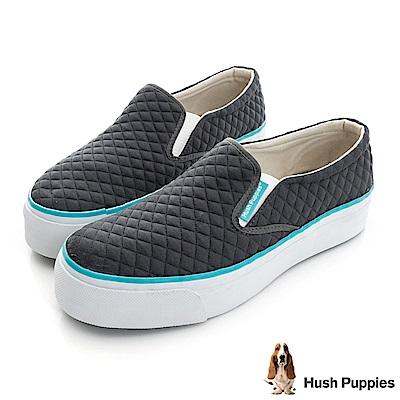 Hush Puppies 菱格鋪棉咖啡紗厚底懶人鞋-深灰