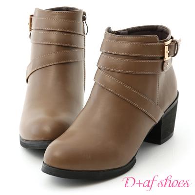 D+AF 好評嚴選.小鉚釘釦環中跟短靴*灰棕
