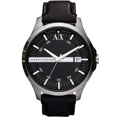 A│X Armani Exchange 雅痞時尚風格腕錶-黑/46mm