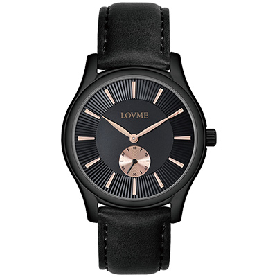 LOVME 質感魅力時尚手錶-IP黑x黑/41mm