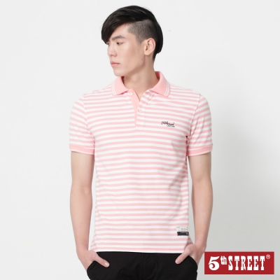 5th STREET 條紋短袖POLO衫-男-粉紅