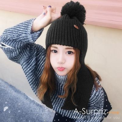 A-Surpriz-純色護耳大毛球毛線帽-黑
