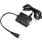 Mini HDMI(公) 對 VGA(母) Audio鍍金頭連接線15cm(黑)附音源線