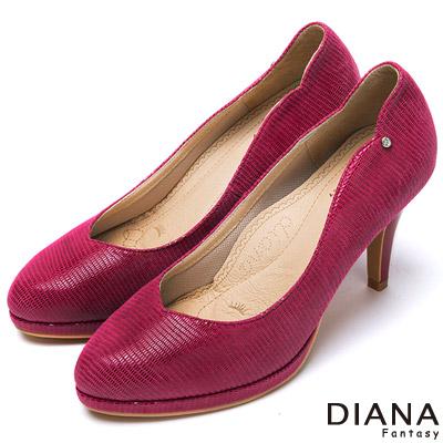 DIANA-漫步雲端焦糖美人款-裸鑽壓紋羊皮跟鞋-桃紅