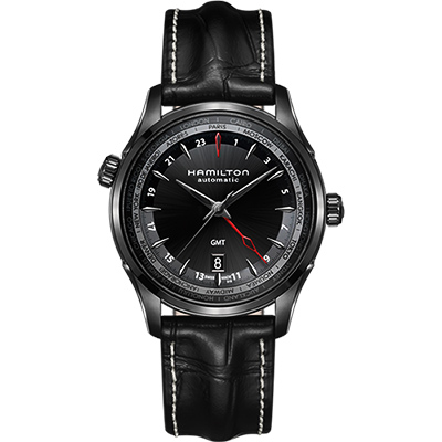Hamilton JAZZMASTER GMT 雙時區限量機械腕錶-黑/42mm