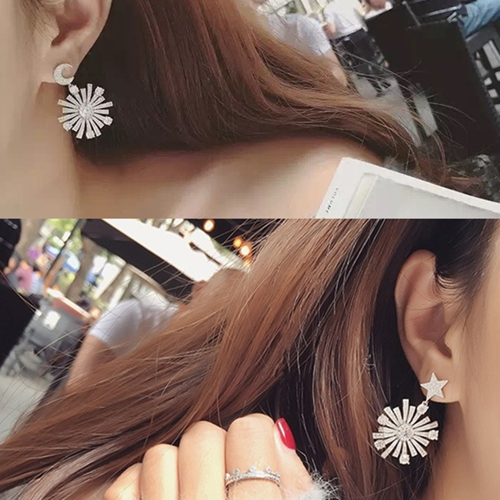 梨花HaNA韓國925銀絕對華麗璀璨閃爍星月太陽耳環