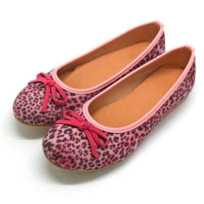 天使童鞋-D377 秋冬絕美豹紋親子鞋(大童)-粉紅紋