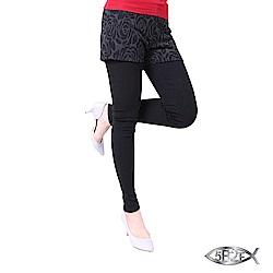 5B2F 五餅二魚 玫瑰紋假兩件長褲(加厚內磨毛內搭褲)
