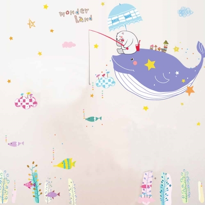 E-006童趣生活系列-可愛鯨魚 大尺寸高級創意壁貼 / 牆貼
