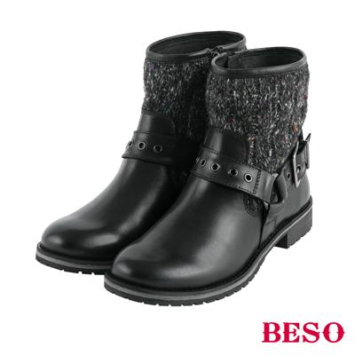 BESO街頭風潮 金屬飾釦拼接毛呢工程短靴~黑