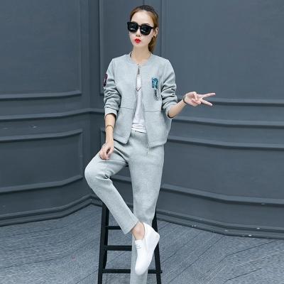 韓系-彩色圖印外套-長褲運動套裝組-共三色-91-KOKO