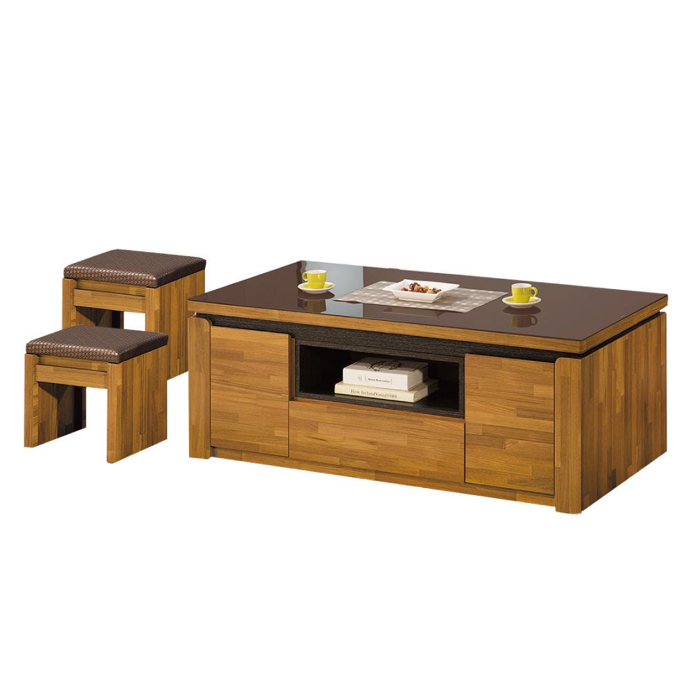 品家居 卡洛4.4尺柚木紋玻璃大茶几(含椅凳2入)-133.4x66.7x52.1cm免組