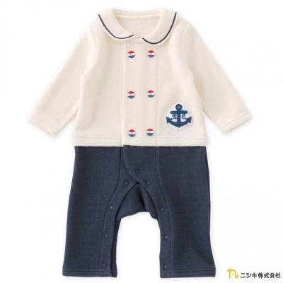 Nishiki 日本株式會社 米黃刷毛海軍船錨拼接長袖連身衣