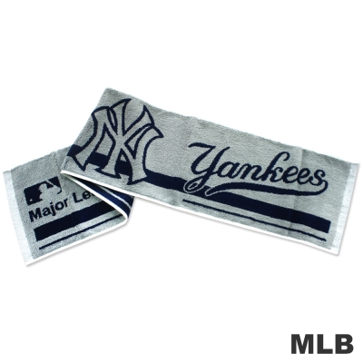 MLB-紐約洋基隊橫式文字款運動長巾-灰色