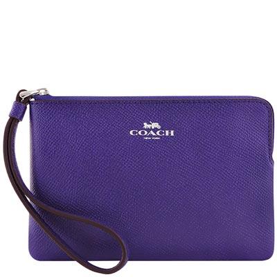 COACH 葡萄紫色防刮皮革手拿包